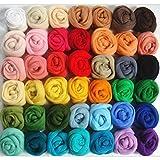 ULTNICE Fibra de lana Roving lana de lana 36 colores para la aguja de fieltro de mano de giro DIY