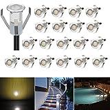 20er Set LED Lampen 0.4W Mini Treppen Einbaustrahler IP67 Wasserdicht Außen Lampe Boden Einbauleuchten (Warmes Weiß)