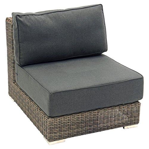 Lounge entre partie EL TORO Marron Fauteuil modulaire Salon de Concept Taupe/Gris avec structure en aluminium haute qualité 80 x 100 x 75 cm