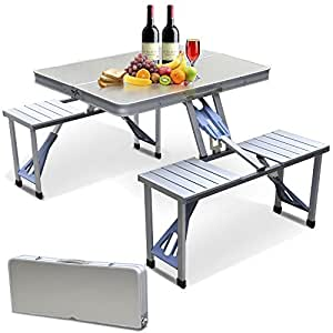 Ias Foldable Outdoor Picnic Table With Umbrella Amazon In