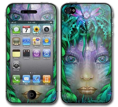 Xtra-Funky Exklusiv Mystische Dame Blumen Entwurf Modische Hohe Qualität Protective Decal Haut bedecken Vinyl-Aufkleber für Apple iPhone 4 / 4S - Dämon-schädel-tattoo