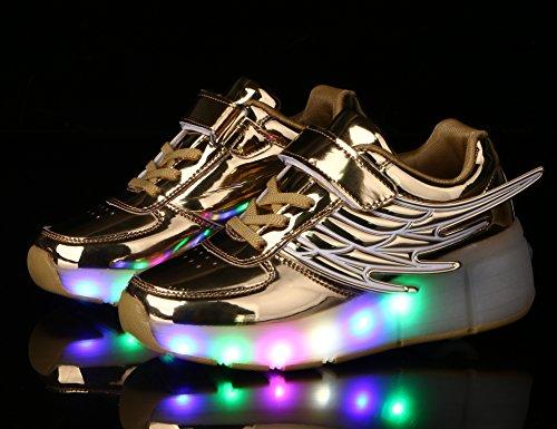 Rodas Meninos ang Sapatos art Cor De Rolo Luzes Neutro Com Asa Patinar Piscando Rolo Led Ouro Calçam Mr 7 As Sapatilhas Kuli De Skate E Mudança Ajustável Meninas qa70wrat