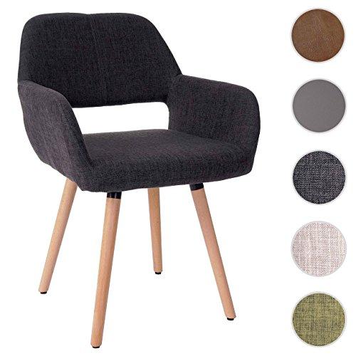 Esszimmerstuhl HWC-A50 II, Stuhl Lehnstuhl, Retro 50er Jahre Design ~ Textil, dunkelgrau
