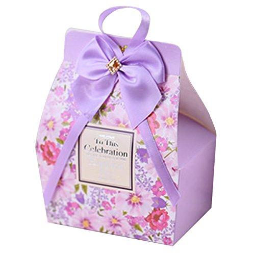 Prinzessin Baby-Dusche Ideen hochzeitsfestbevorzugungen Hochzeitsgeschenke elegante lila-Boxen für 50 Stück (Bonbons oder Pralinen nicht enthalten)