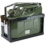 10 Liter Kanister oliv mit Halterung und Sicherungsstift Stahlblechkanister Set