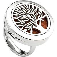 JOVIVI Schmuck Set,Edelstahl Finger Ring Ätherische Öle Diffusor Ring Lebensbaum Locket Ringe mit 6 Pads,(Size... preisvergleich bei billige-tabletten.eu