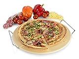Sänger Pizzastein  Runde Form - Durchmesser 38 cm  Die Lieblingspizza ganz einfach perfekt zubereiten  Ein knuspriger Pizzaboden ist garantiert  Mit praktischer Metall Halterung