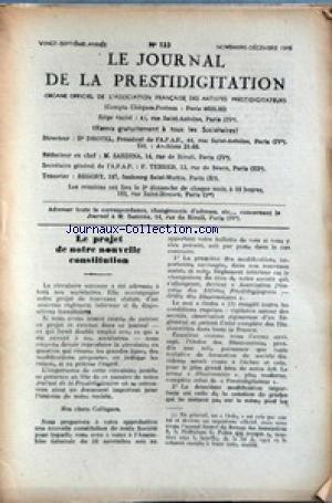 JOURNAL DE LA PRESTIDIGITATION [No 133] du 01/11/1946 - LE PROJET DE NOTRE NOUVELLE CONSTITUTION. par Collectif
