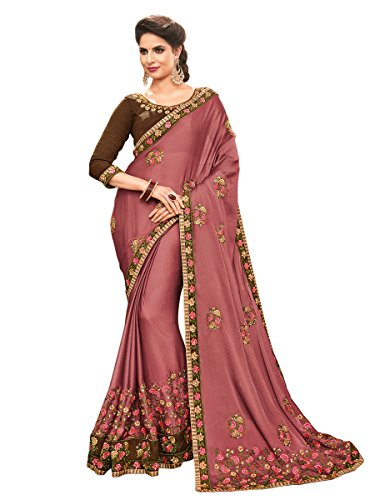 Shangrila Women's Georgette Saree With Blouse Piece (Klkrt-8015_Brown)
