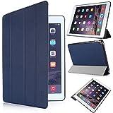 iHarbort® iPad Air 2 Hülle - Premium PU Leder Tasche Hülle Etui Schutzhülle Ständer Smart Cover für iPad Air 2, mit Schlaf / Wach-up-Funktion (iPad Air 2, dunkelblau)