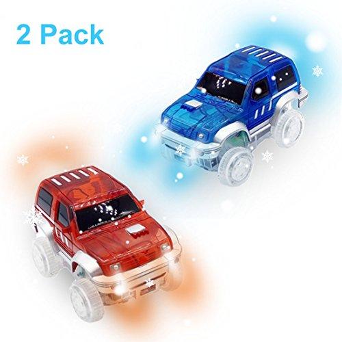 Rennauto LED Licht Im Dunkeln Leuchten Zubehör Kompatibel mit den Meisten Auto Rennen Magic Tracks,Ideal Für Childs Geschenke (Lego Polizei-halloween-kostüm)