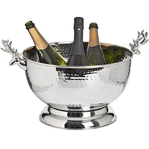 Hohe Qualität, Nickel Wein Champagner Kühler Eimer w Hirsch Griffe