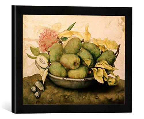 Gerahmtes Bild von Giovanna Garzoni Schale mit Pflaumen und Einer Nelke, Kunstdruck im hochwertigen handgefertigten Bilder-Rahmen, 40x30 cm, Schwarz matt - Garzoni Schale