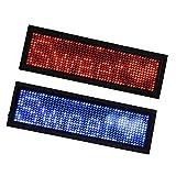 perfk 2x Lampade LED Badge Identificativo Striscione Scorrevole Tag Nome Segno Schermo ABS Rosso Blu