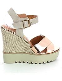 Sandales compensées métallisé