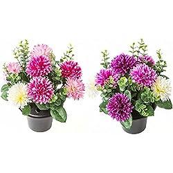 Kunstblumen als Grabschmuck, Blumenarrangement im Topf aus Chrysanthemen, 2Farben hellrosa