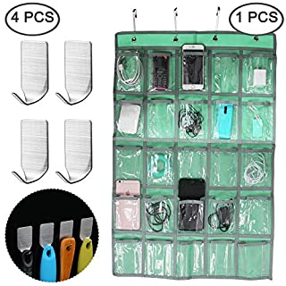 AFUNTA Classroom Pocket Chart with 4 pcs Adhesive Hooks, Hanging Organizer for Cell Phone Calculator Underwear Sock Storage, with 4 Wall Hooks Stainless Steel Hanger for Kitchen Bathroom Office