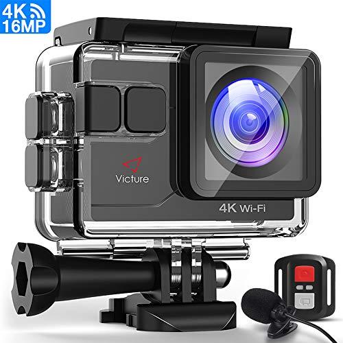 Victure Action Cam 4K Wi-Fi 16 MP con Controllo Remoto e Microfono Esterno Funzione EIS Antivibrazioni e Slow Motion, due Batterie e Molteplici Accessori