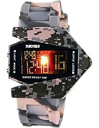 longqi Mens Militar Stealth Fighter Cool 7Color luz LED resistente al agua niños deportes reloj de pulsera