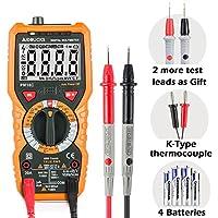 Multímetro Digital Profesional Janisa PM18C DC / AC Voltaje de Corriente Amperimetro Voltímetro Capacitancia Resistencia Continuidad Diodo Tester sin Contacto sonda Temperatura de Retroiluminación LCD