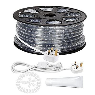 LE 46m 220-240V AC LED Rope Lights Kit, 6000K Daylight White, Waterproof IP65, Accessories Included, LED Crystal Clear PVC Tubing Rope, Customizable Length Indoor/Outdoor Rope Lighting for Holiday