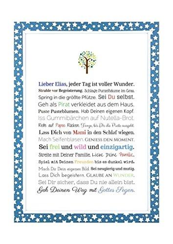 Taufgeschenk Junge | Personalisiertes Bild als Geschenk zur Taufe für Kinder und Babies in DIN A4 - Ideal als Gastgeschenk von Taufpaten - 3