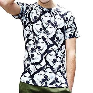 Manadlian O-Ausschnitt Bluse Herren Persönlichkeit Männer 3D-Druck Hund Lässig Schlank Kurzarm T-Shirt Sommer Junge Tops