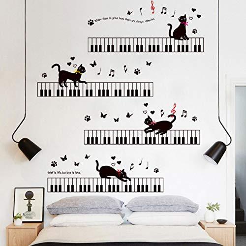 Yzybz Die Katze Auf Dem Klavier Musik Wandaufkleber Für Kinderzimmer Schlafzimmer Kunst Hintergrund Sockelleiste Pvc Sockelleiste Schmetterling Wand-Dekor