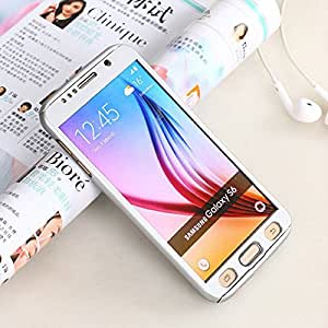 AUDOS *360 DEGREE FULL BODY PROTECTION* Front + Back Cover Case with Tempered Glass For SAMSUNG GALAXY S6 (Silver)