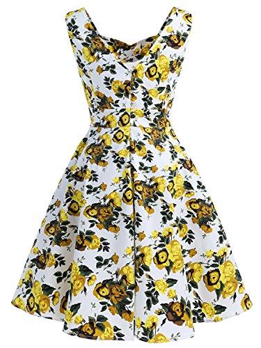 IVNIS Damen 50er Vintage Kleid Retro A-Linie Ärmellos Rockabilly Floral  Abendkleider mit Taschen Gelbe