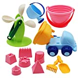Ggoddess Kinder Strand Spielzeug, 12 Stück Sommer Spielzeug Sandstrand Set mit Strand Buggy Schaufeln Gießkanne für Kinder für Outdoor