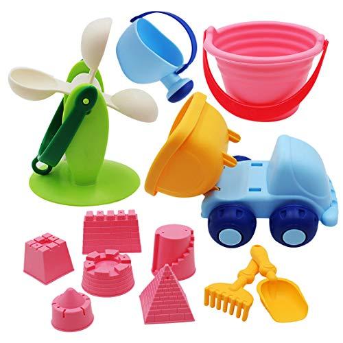 TETAKE Sandspielzeug - 12-TLG Sandspielzeug Set mit Tasche Sandspielzeug Junge Sandspielzeug Mädchen Sandkasten Spielzeug Strand Spielzeug für Kinder Baby ab 1+