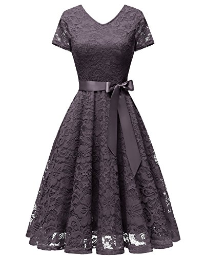bridesmay Damen 50S Retro Spitzenkleid Kurzarm Elegant Cocktail Abendkleid Grey L