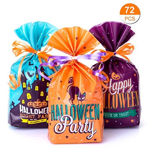 GWHOLE Confezione da 72 Sacchetti di Halloween Borse di Dolcetto o Scherzetto Sacchetto Sacchetti a Caramelle Sacchetti Regalo per Bambino Sacchetto Decorazione di Festa Halloween