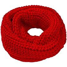 TININNA Moda Bufanda Scarf de punto para mujeres Bufanda Tipo Abrigo Del Mantón Chal En Cuello Círculo Circular Invierno Unisex Mujer Hombre-Rojo
