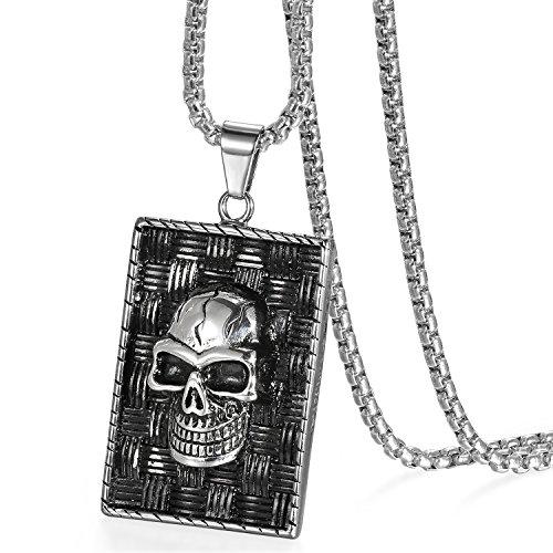 JewelryWe Schmuck Herren Halskette Edelstahl Totenkopf Schädel Dog Tag Hip-Hop Anhänger mit 56cm Kette, Silber