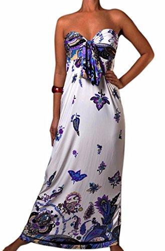 Damen Angela Bandeau Knoten Büste Maxi Kleid, Größen EU 36-50, Farbauswahl Lila Schmetterling