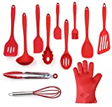 Küchenutensilien Set, 12-teilig Komplette Silikon Backen & Kochen Küche Tools, Kochgeschirr, Küchenhelfer - Rot