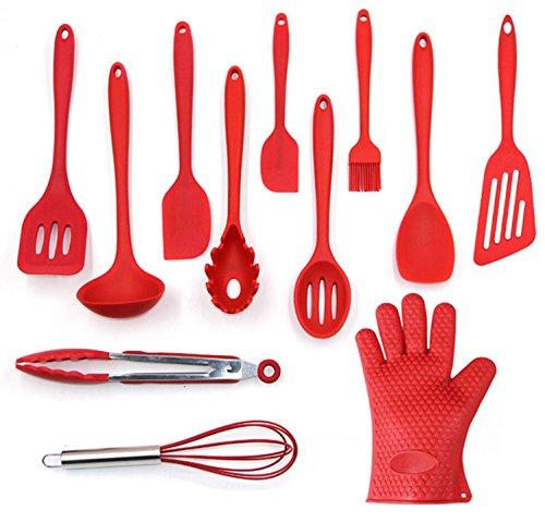 Utensils Set, 12-Piece Complete Silicone Baking & Cooking Kitchen Tools Set - Red - Utensilios de Cocinas
