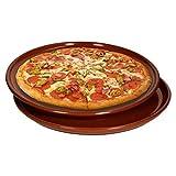 MamboCat 2er-Set Pizzateller Ø32cm I Tonware rotbraun glasiert I mediterrane Essteller I große Speiseteller I Servierplatte rund I Tafelzubehör
