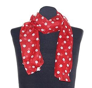 Rot weiß gepunktetes Halstuch Conny, ca. 36 x 160 cm, flottes Damen Schaltuch weiß gepunkteter Schal im 50er Jahre Look