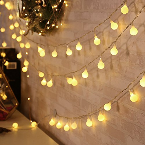 Qedertek Luci Natalizie 13 M 100 LED Catene Luminose di Natale Luci Decorazione Interni Illuminazione di Natale Luci Addobbi Natalizie per Albero di Natale(Bianca Calda)
