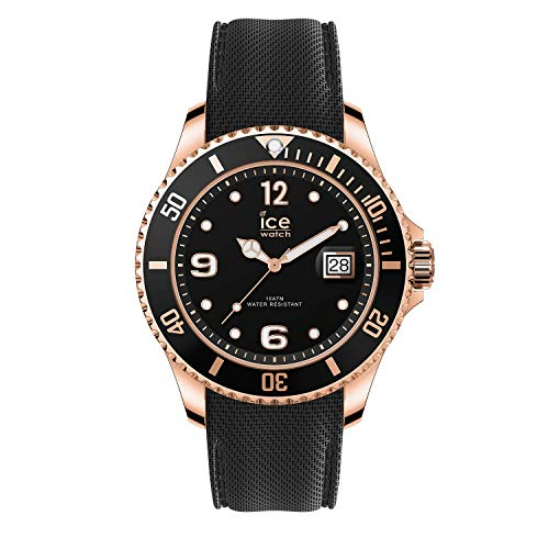 Ice-Watch - Ice Steel Black Rose-Gold - Schwarze Herrenuhr mit Silikonarmband - 016765 (Medium)