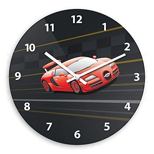Wanduhr mit Racing-Motiv für Jungen   Kinderzimmer-Uhr   Kinder-Uhr