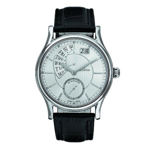 Grovana 1718,1532 - Reloj analógico de cuarzo para hombre, correa de cuero color negro