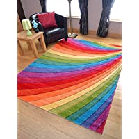 Candy Multicoloured Rainbow Design Rug. Available in 9 Sizes