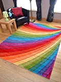 Candy Multicoloured Rainbow Design Rug. Available in 6 Sizes (120cm x 170cm)