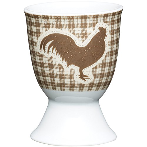 Kitchen Craft KCEGGTHEN Coquetier Poule de Texturouge désign en Porcelaine, Brun, 9 x 12 x 16 cm