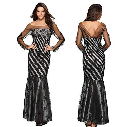 Amphia - Drucken Spitze Lange Ärmel Splice Brust Formale Kleidung Bankett Rock Kleid,Frauen Mode...