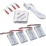 Crazepony-UK 4pcs 650mAh 1S Batterie 3.7V 25C Lipo Battery JST Plug and 4 in 1 Multi...